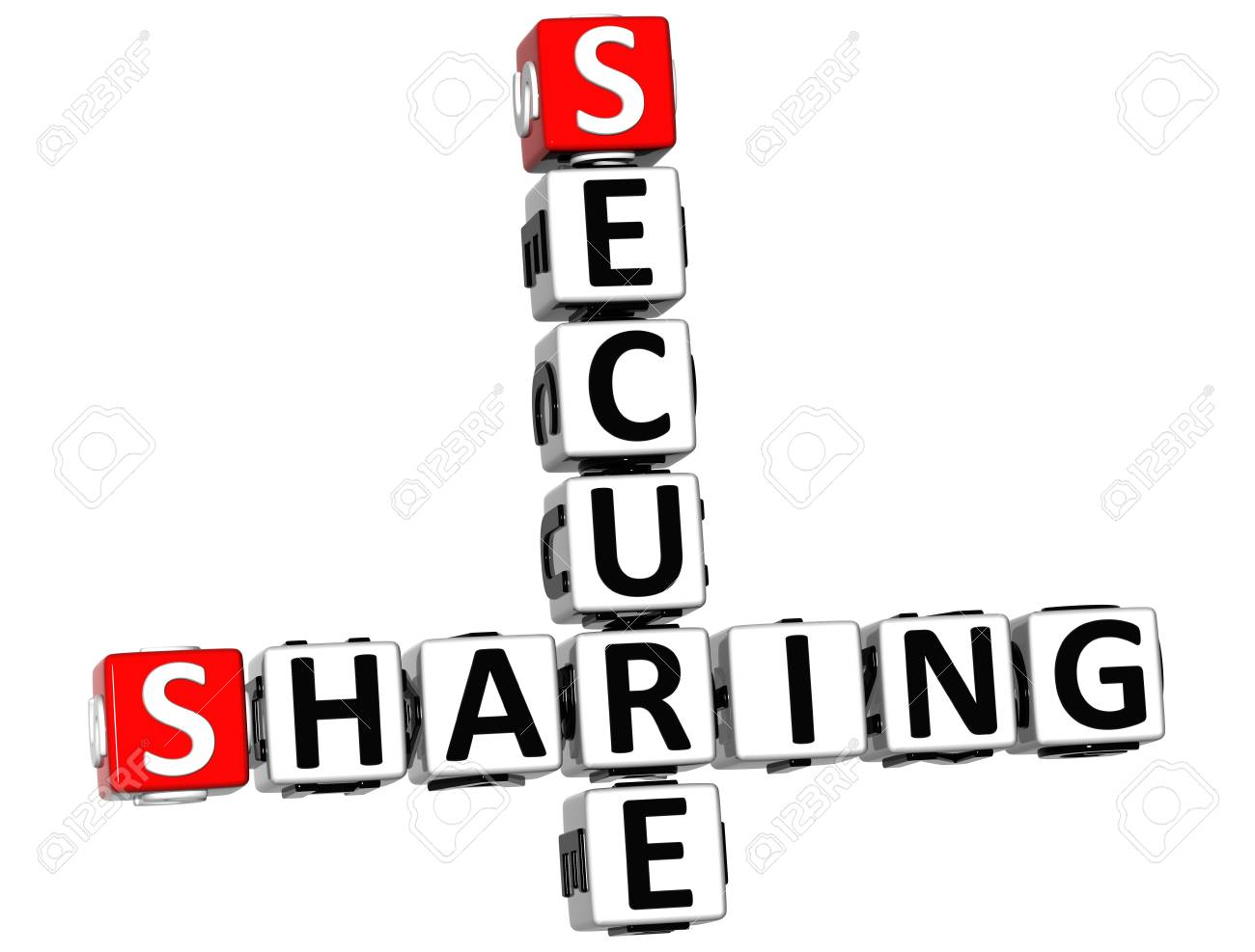 3D Sharing Secure Crossword on white background Stock Photo - 14320514
