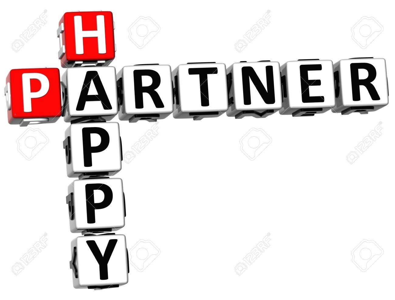 3D Happy Partner Crossword on white background Stock Photo - 14320566