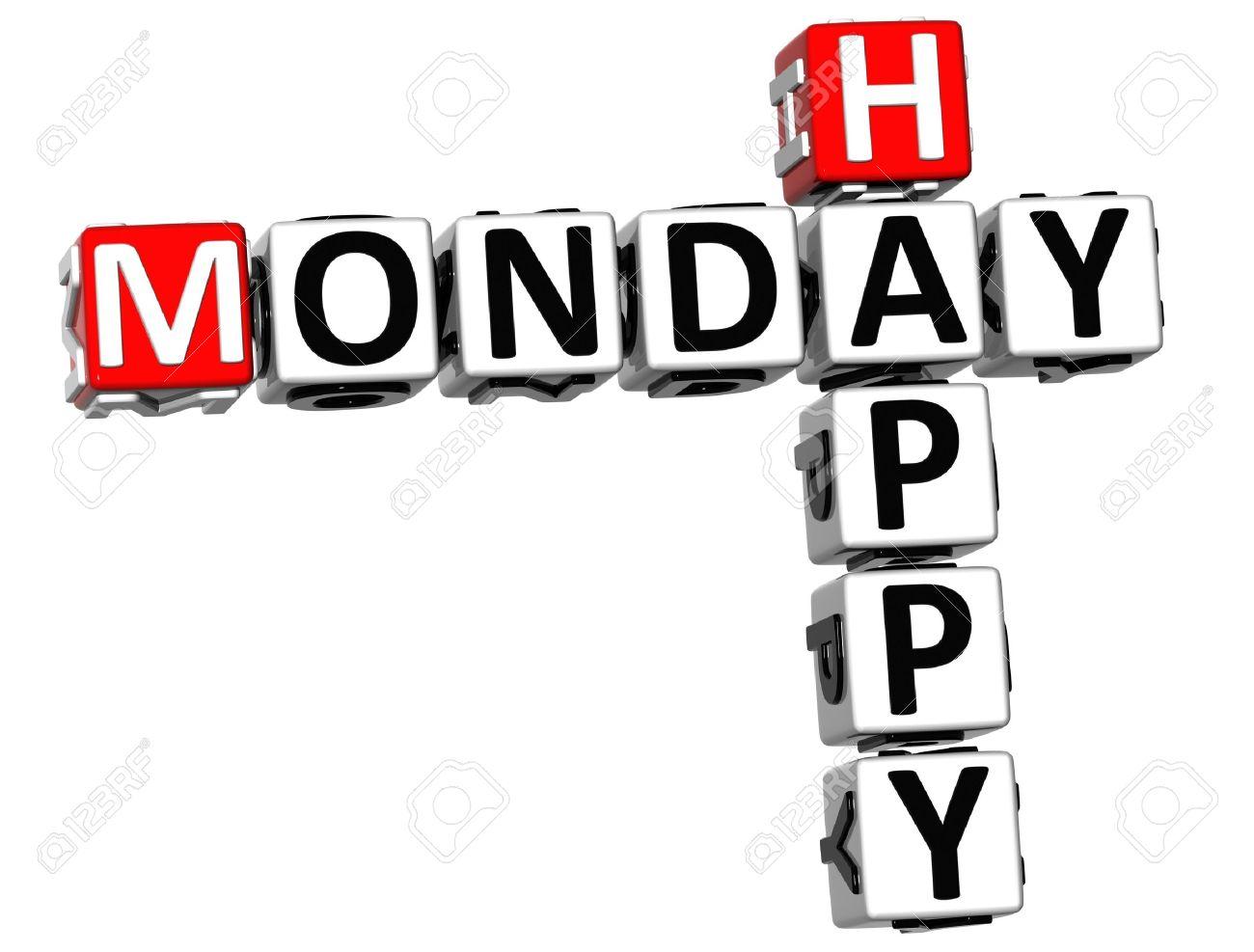 3D Happy Monday Crossword on white background Stock Photo - 14320593