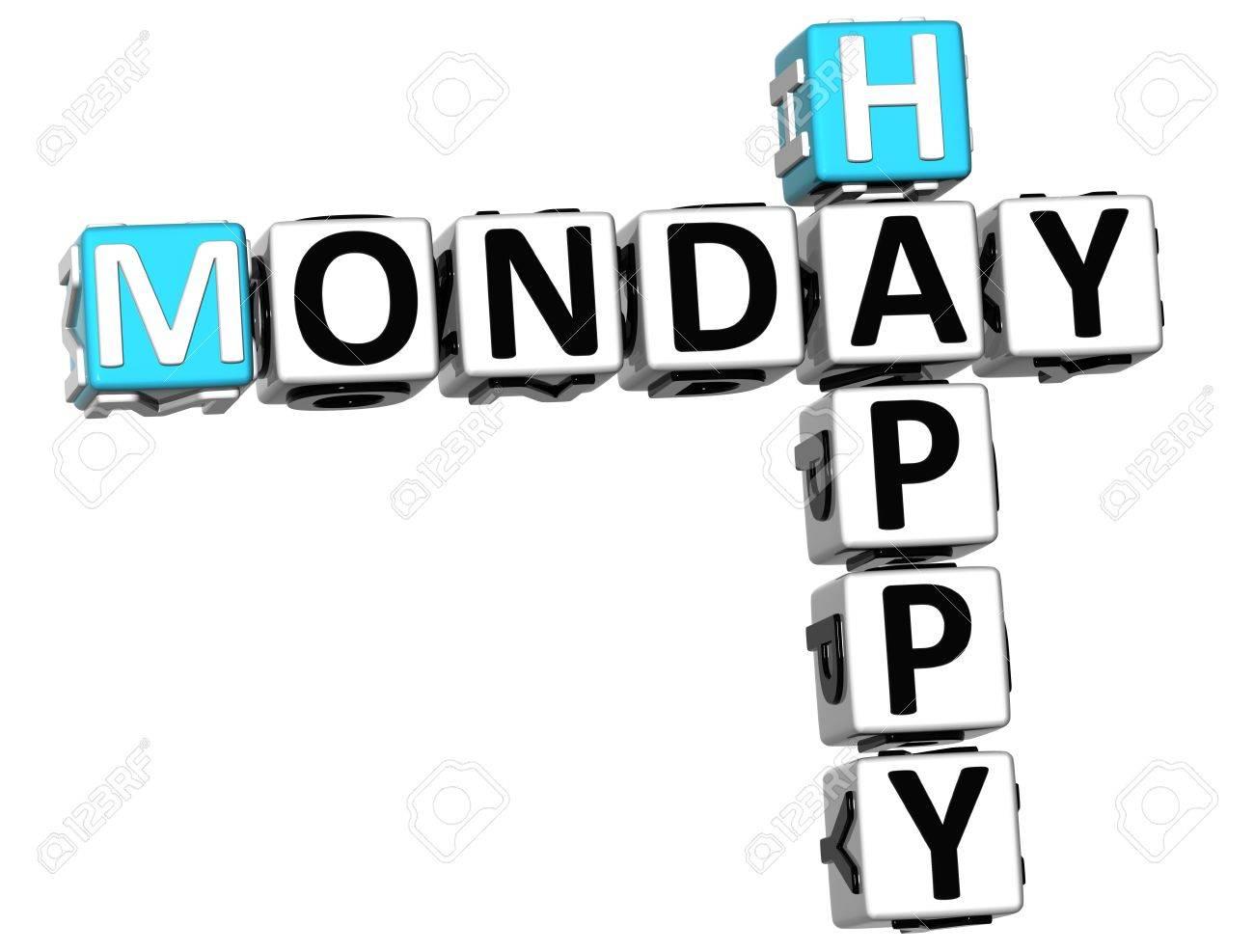 3D Happy Monday Crossword On White Background Stock Photo