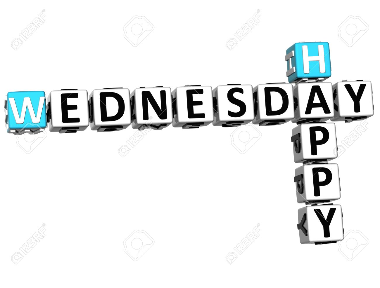 3D Happy Wednesday Crossword on white background Stock Photo - 14320437