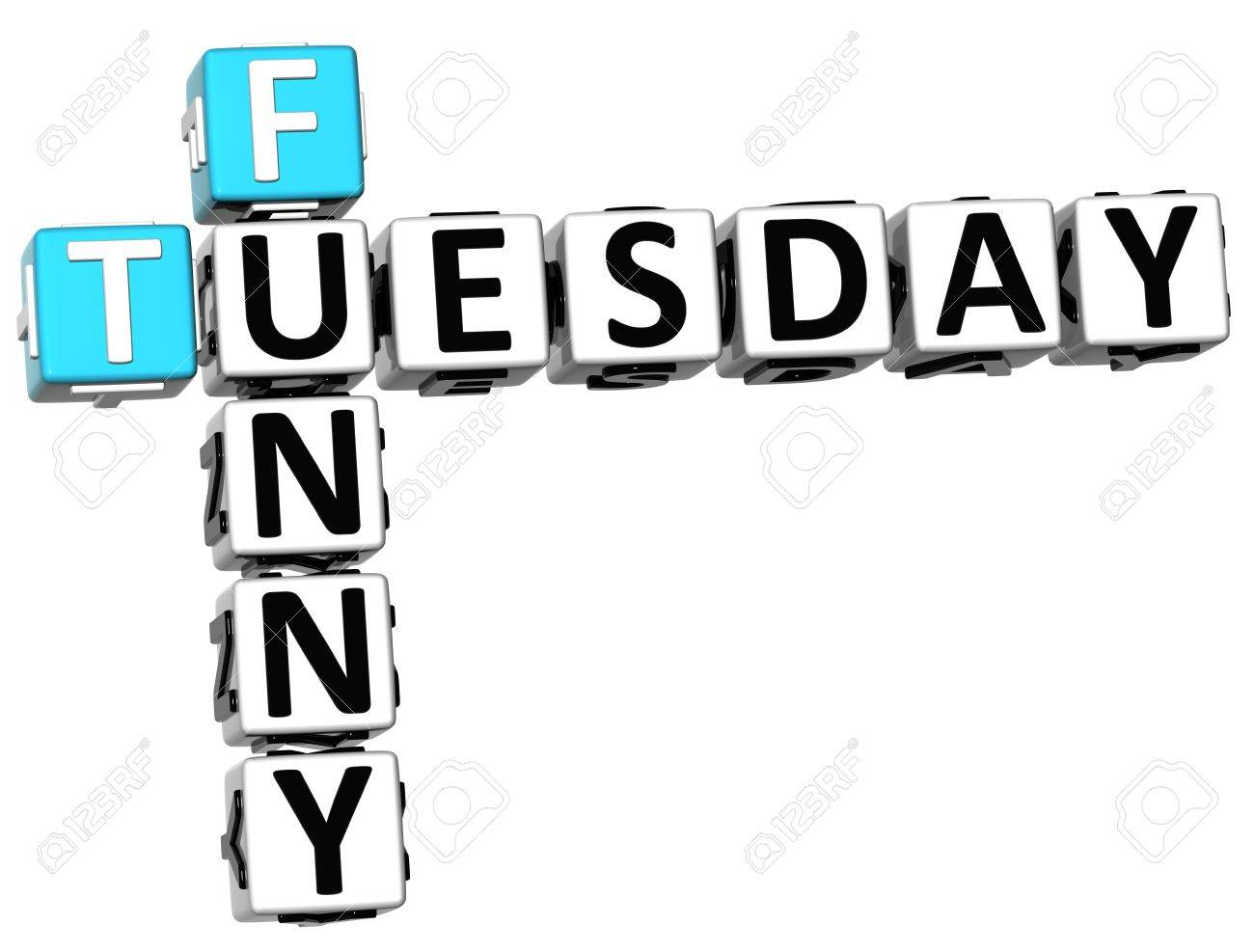 3D Funny Tuesday Crossword on white background Stock Photo - 14320568