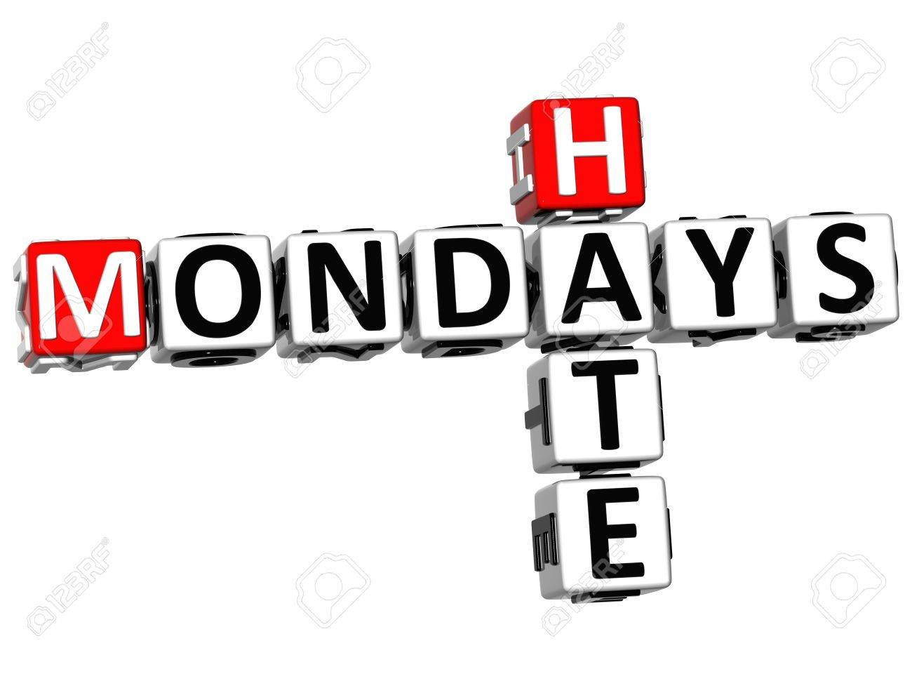 3D Hate Mondays Crossword on white background Stock Photo - 14320535