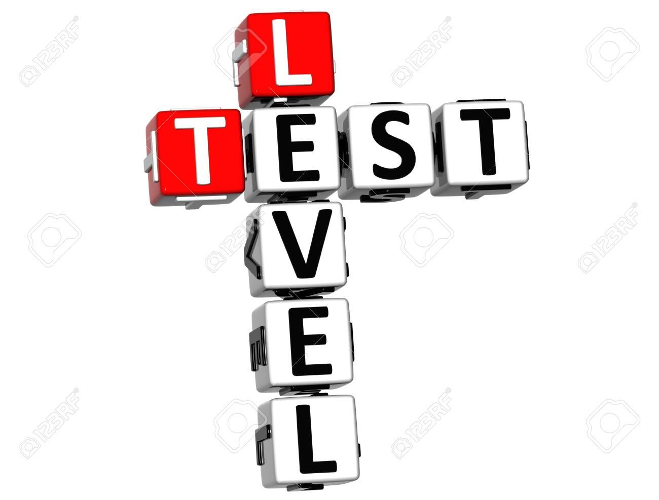 3D Test Level Crossword on white background Stock Photo - 14378238