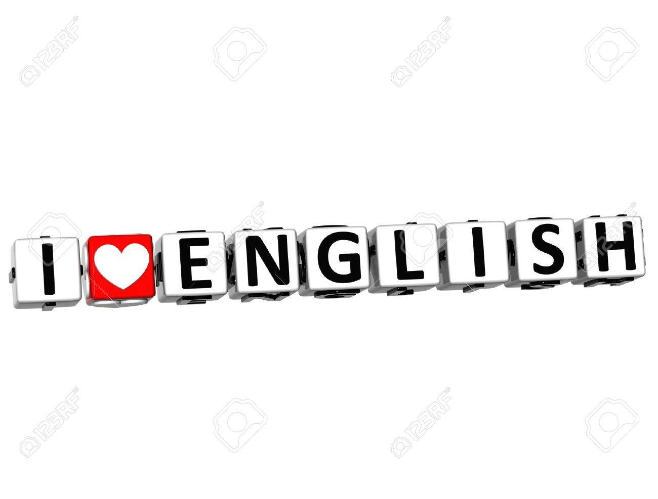 afbadaf0bd6 3D I Love English Button Click Here Block Text over white background Stock  Photo - 14378342