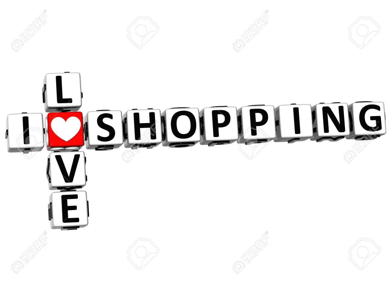 3D I Love Shopping Crossword on white background Stock Photo - 15096070