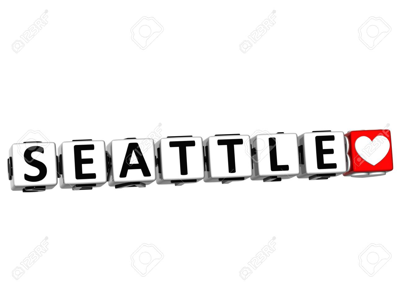 3D Seattle Love Button Click Here Block Text over white background Stock Photo - 15490090