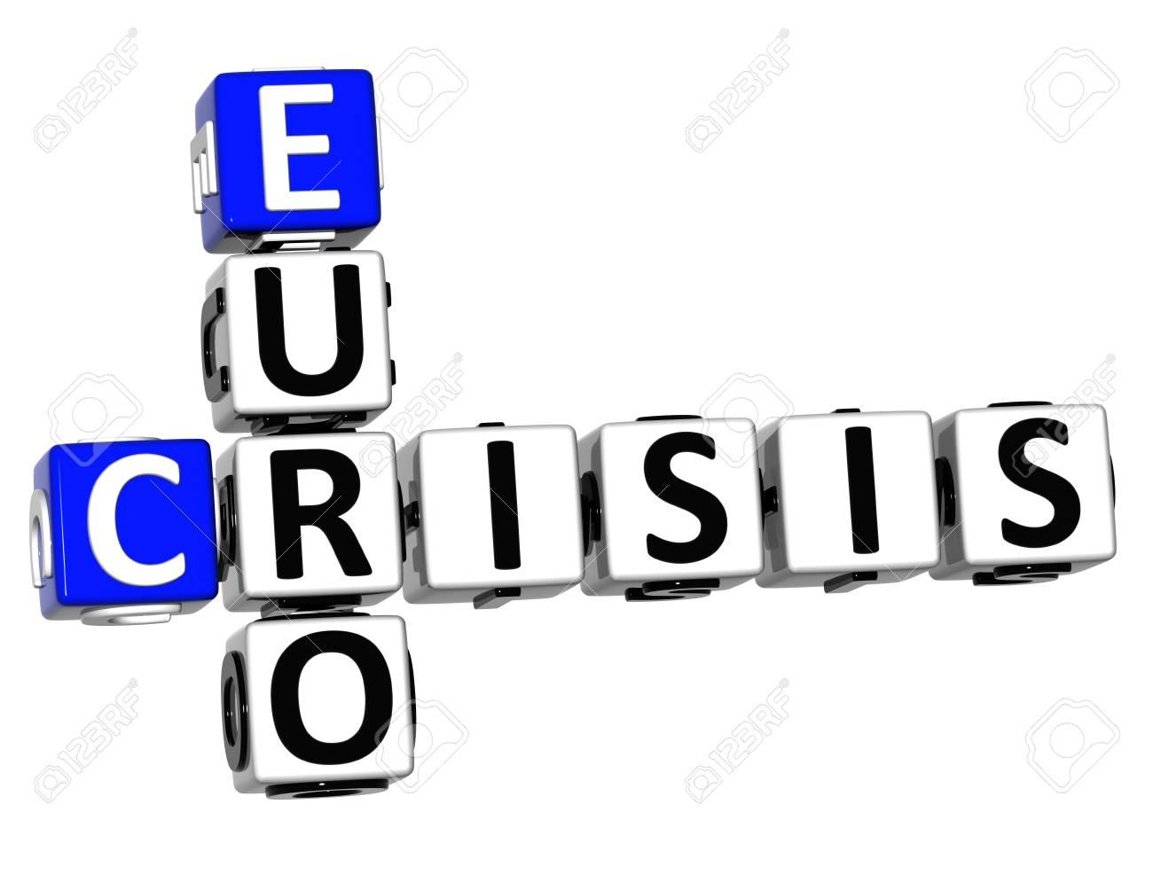 3D Euro Crisis Crossword on white background Stock Photo - 16416241