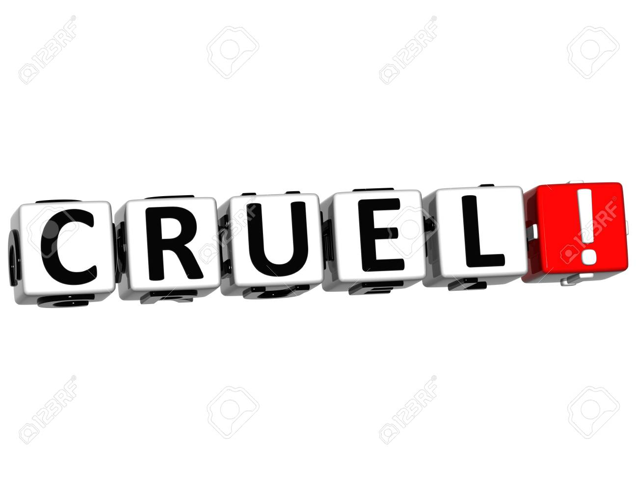 3D Cruel Button Click Here Block Text over white background Stock Photo - 16416185