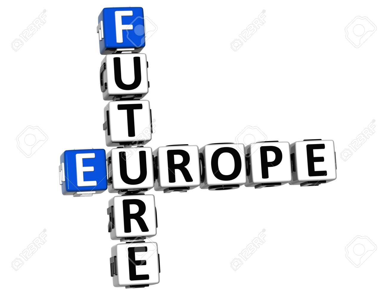 3d avenir de l'europe croisés sur fond blanc banque d'images et