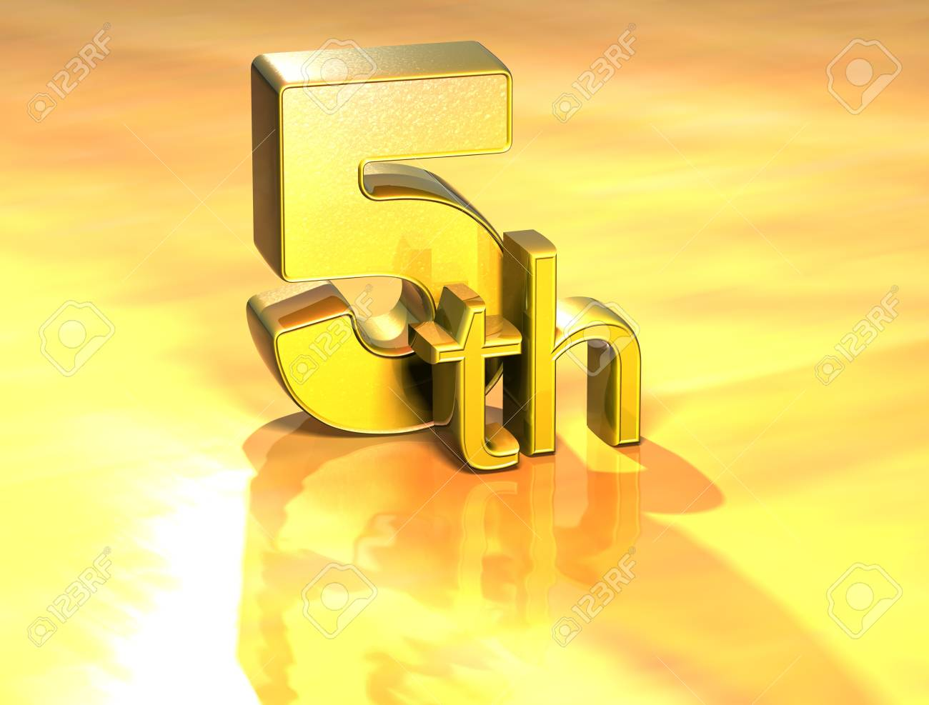 3D Word Fifth on gold background Stock Photo - 17002353