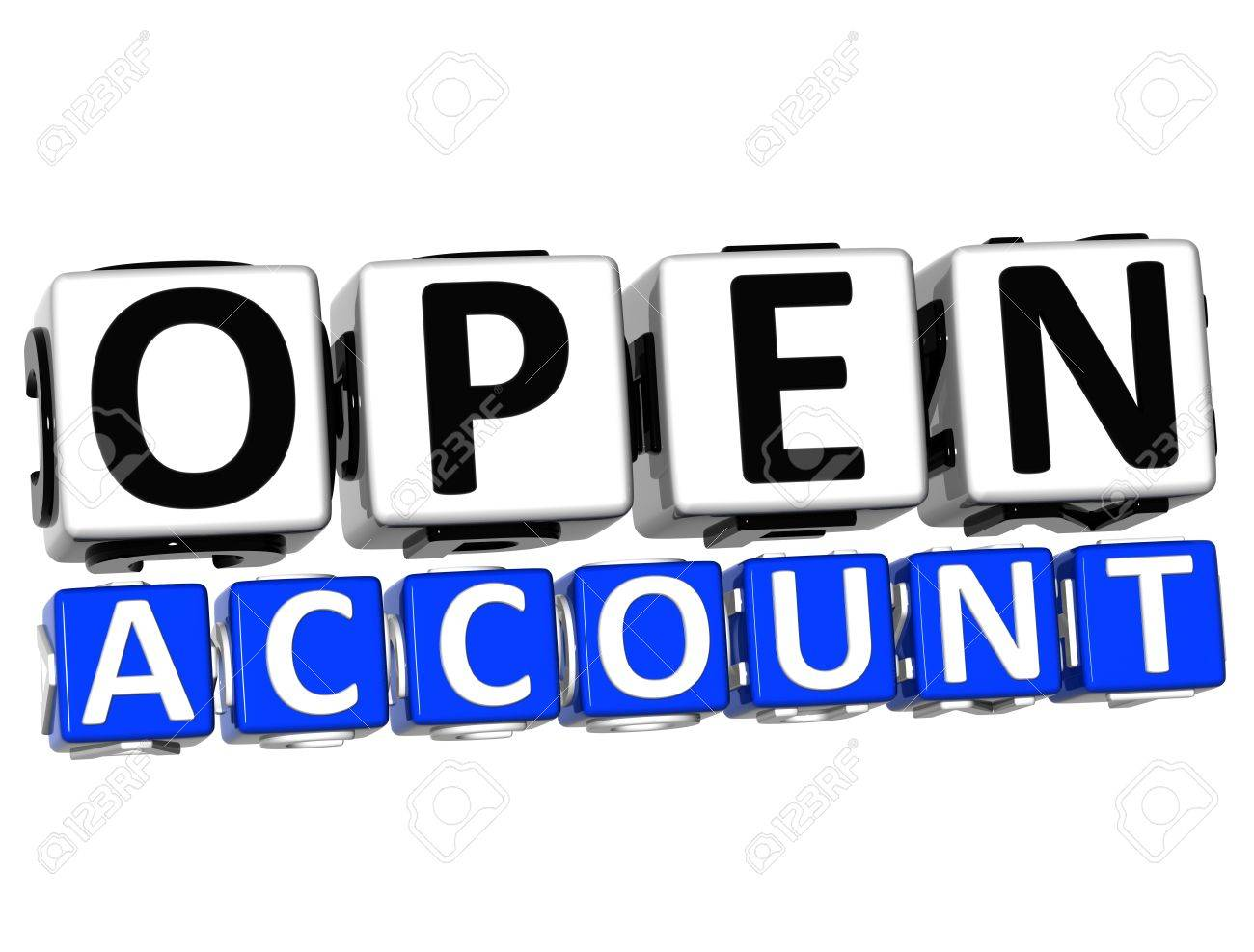 3D Open Account Button Click Here Block Text over white background Stock Photo - 17032068