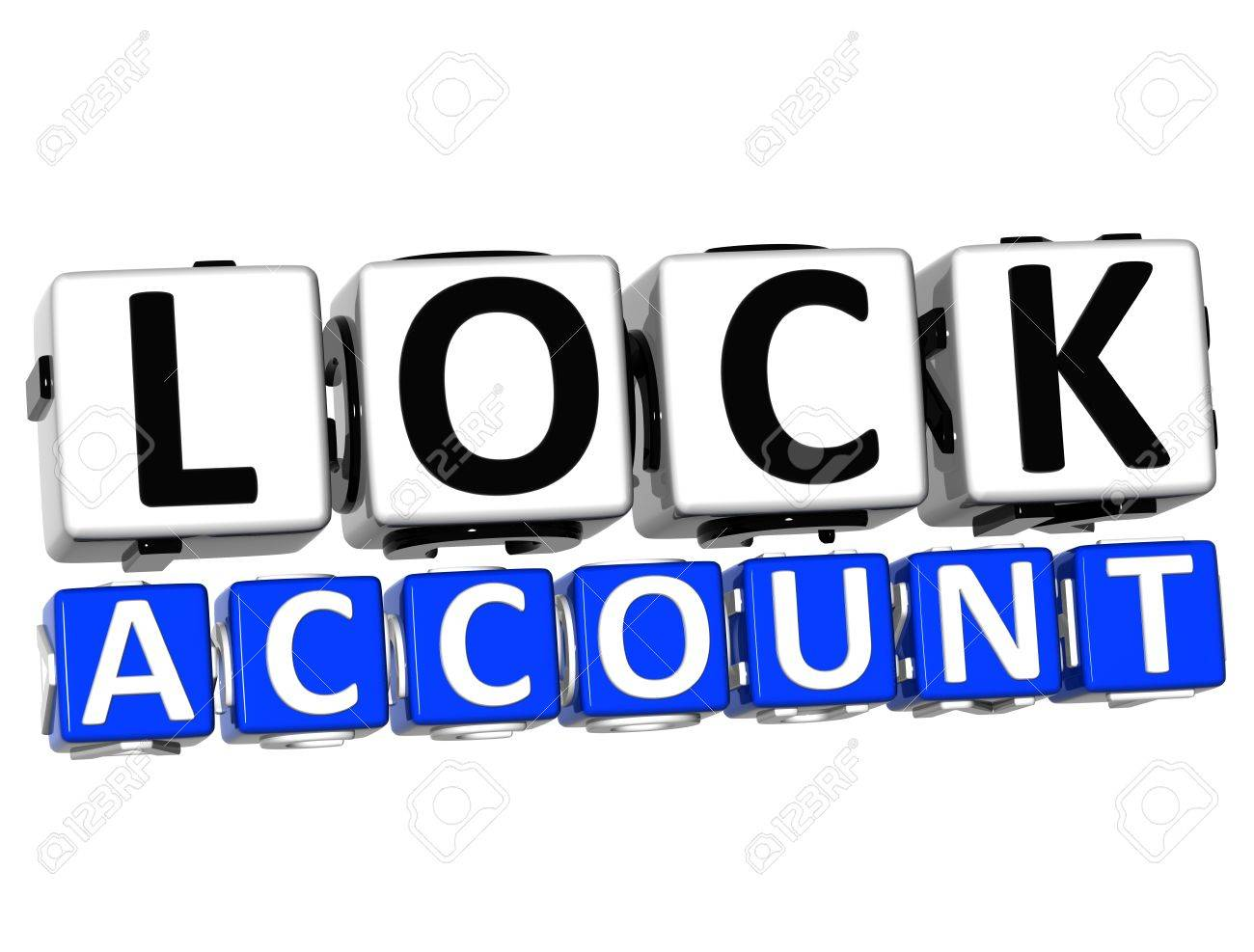 3D Lock Account Button Click Here Block Text over white background Stock Photo - 17032050