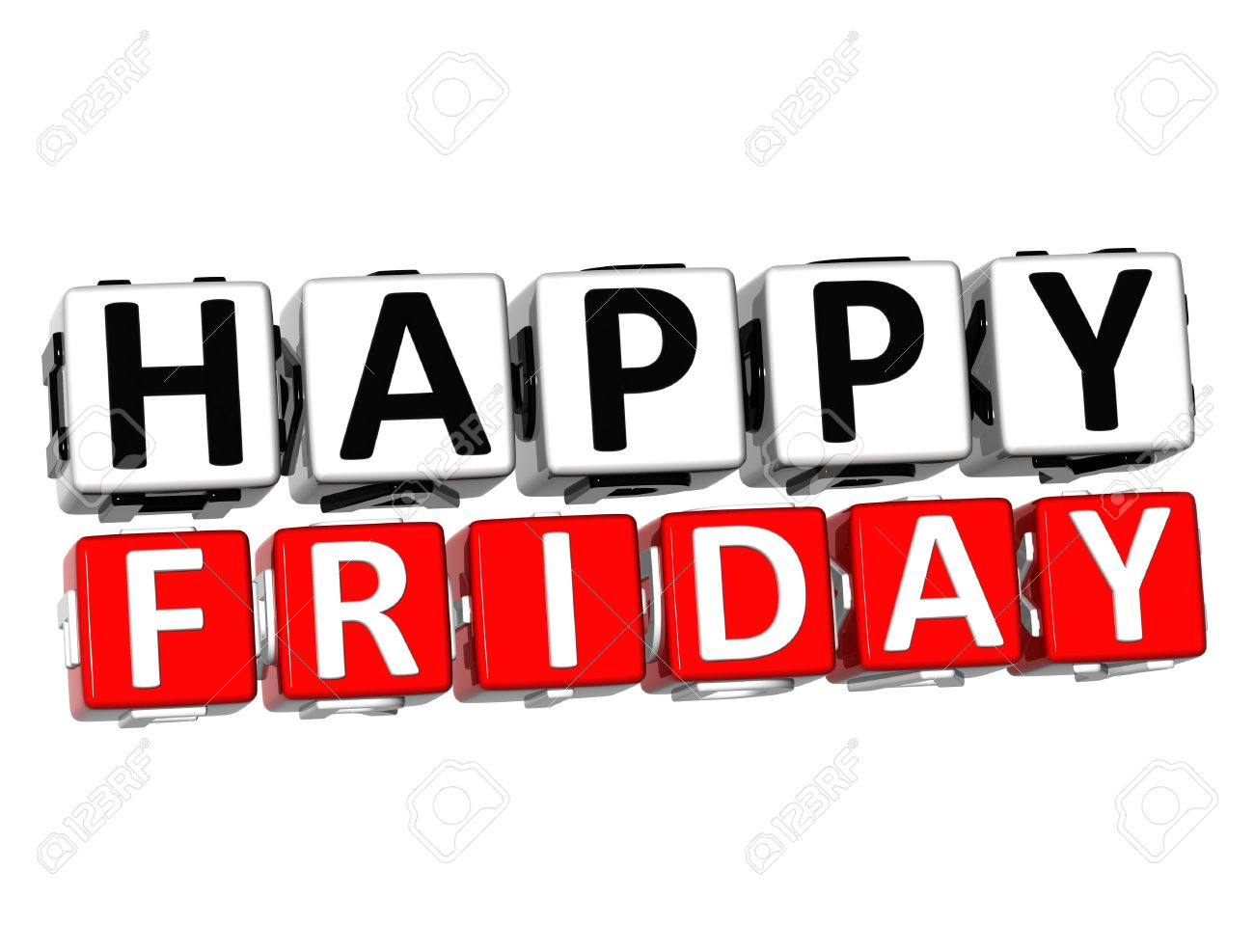 3D Happy Friday Button Click Here Block Text over white background Stock Photo - 17032015