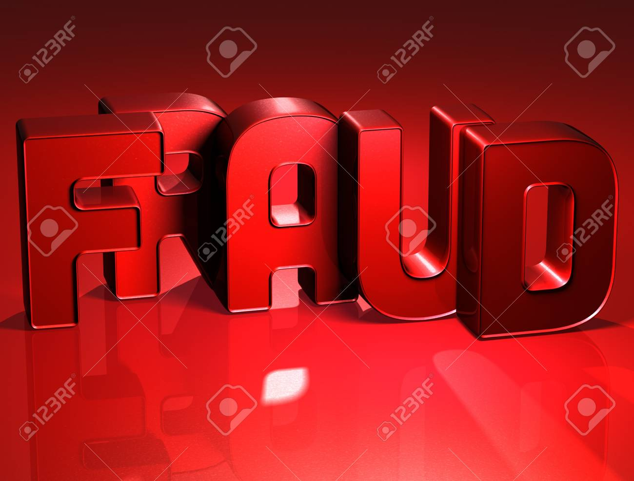 3D Word Fraud on red background Stock Photo - 17047908
