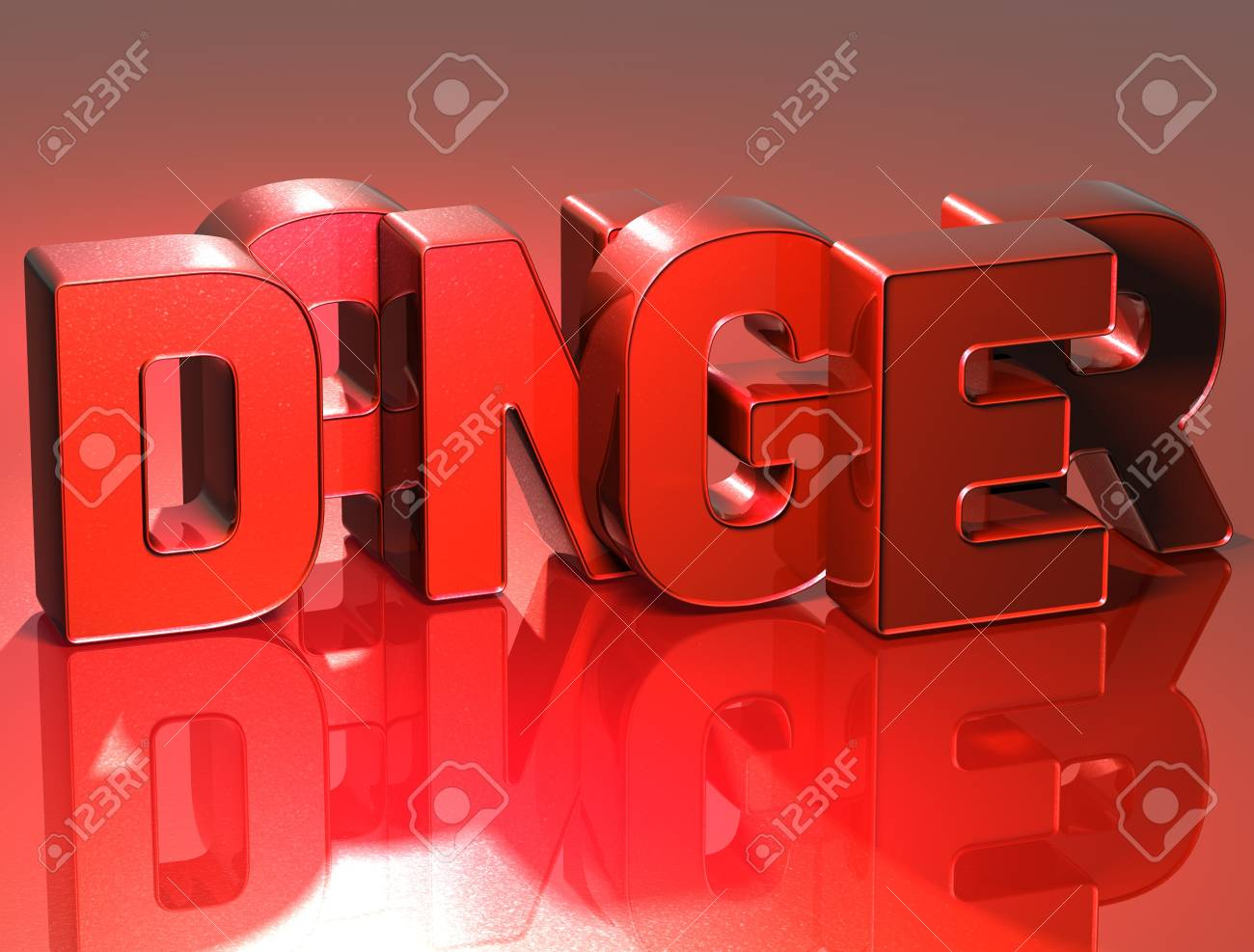 3D Word Danger on red background Stock Photo - 17099962
