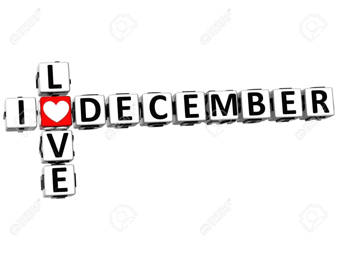 3D I Love December Crossword on white background Stock Photo - 17099751