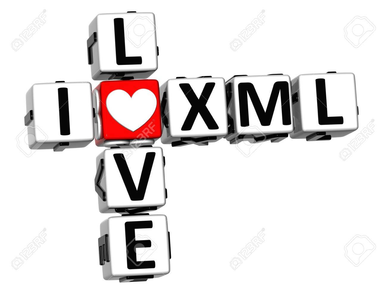 Background image xml - 3d I Love Xml Crossword On White Background Stock Photo 17099809