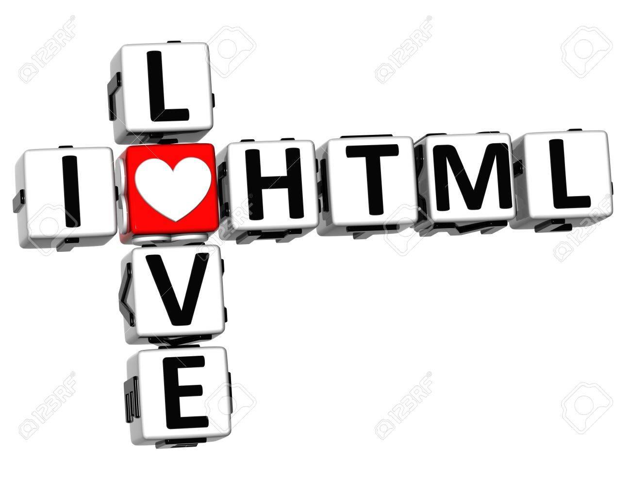 3D I Love HTML Crossword on white background Stock Photo - 17099823