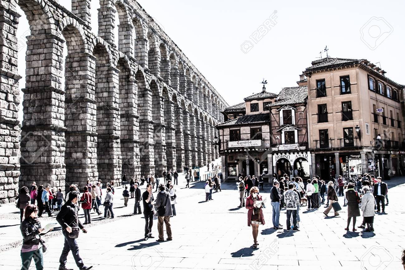 The famous ancient aqueduct in Segovia, Castilla y Leon, Spain ( HDR image ) Stock Photo - 17356499