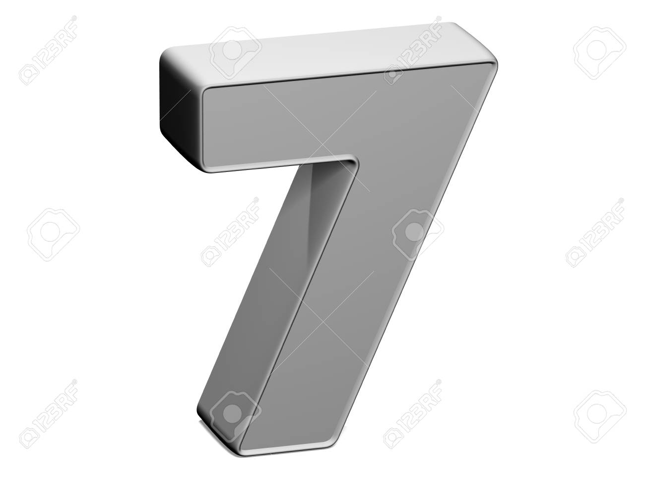 3D shiny grey number collection over white background Stock Photo - 17607122