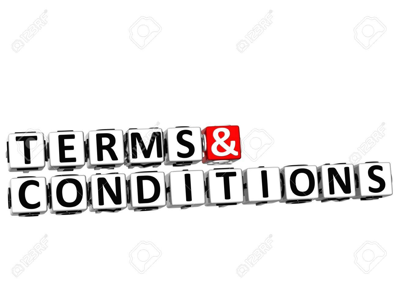 3D Terms and Conditions Crossword on white background Stock Photo - 17780485