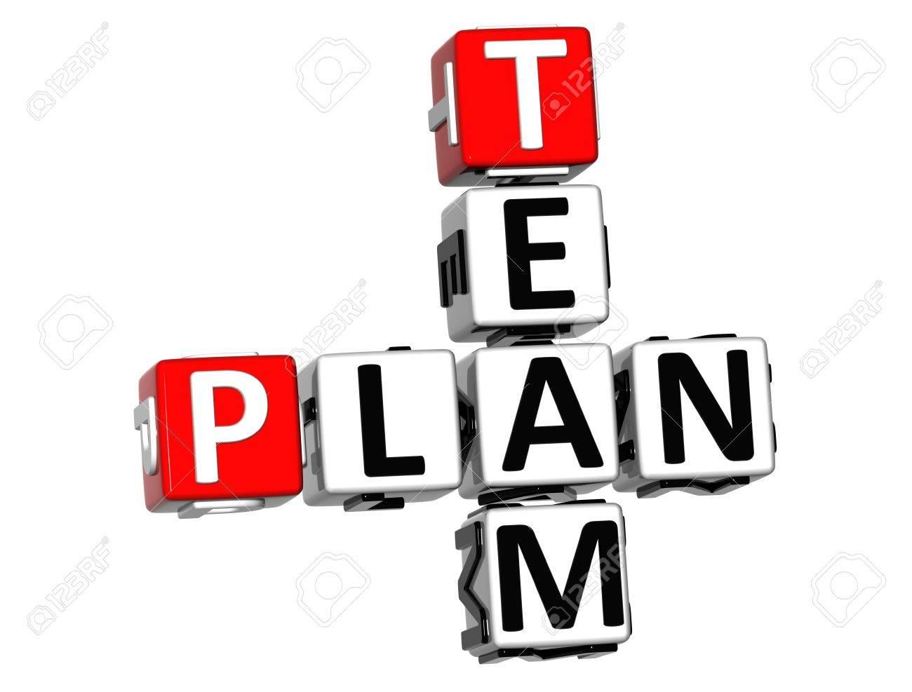 3D Team Plan Crossword on white background Stock Photo - 18140697