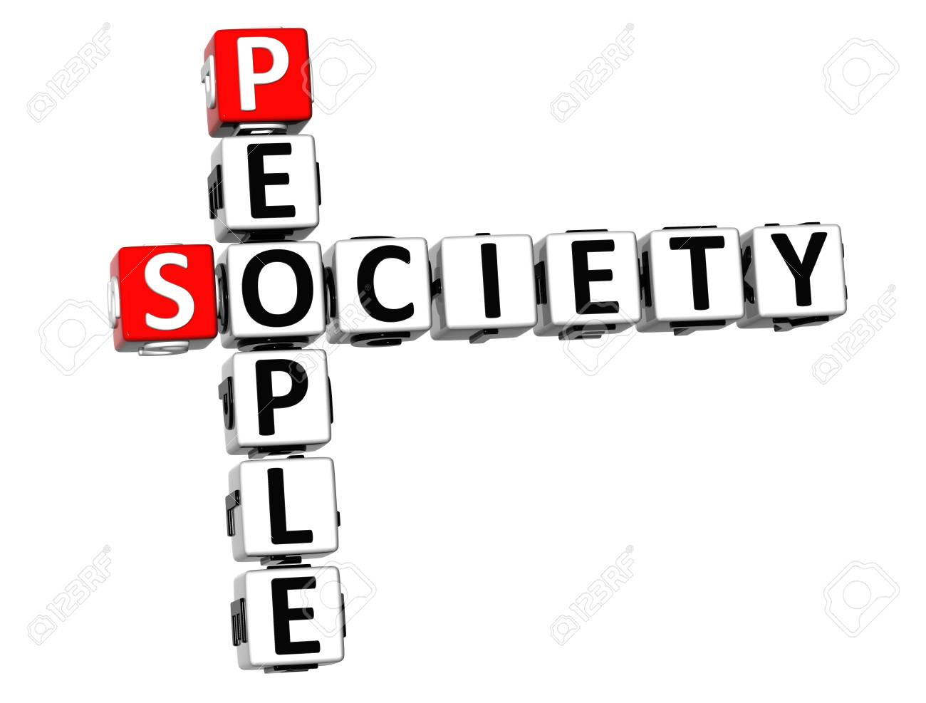 3D People Society Crossword on white background Stock Photo - 18140607