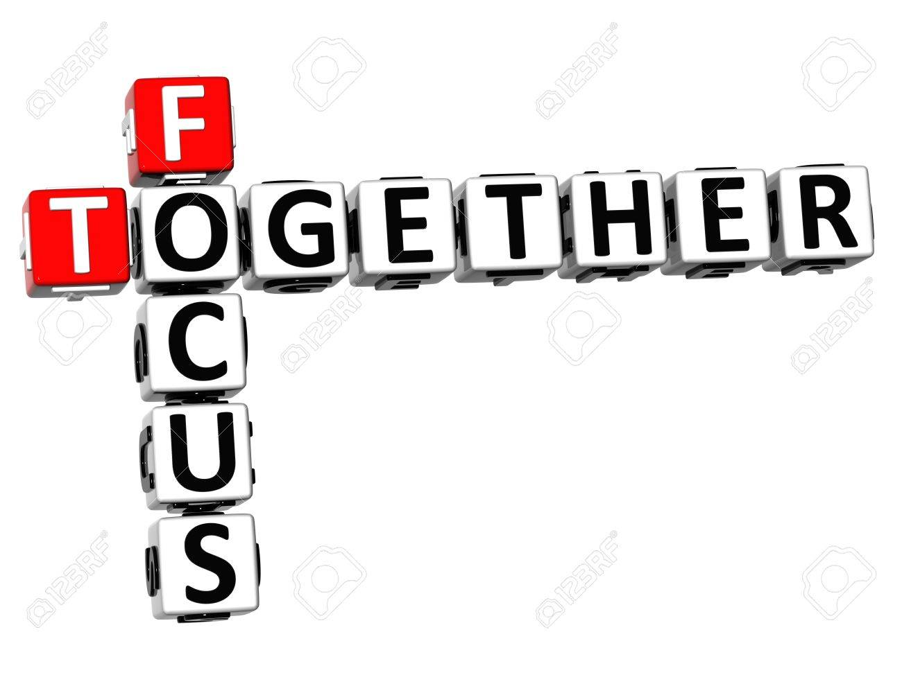 3D Focus Together Crossword on white background Stock Photo - 18282472