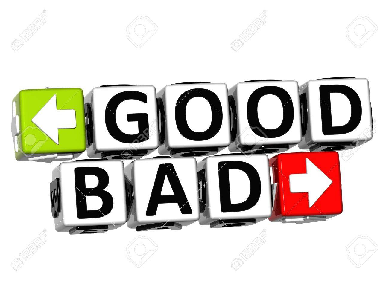 3D Good Bad Button Click Here Block Text over white background Stock Photo - 18302210
