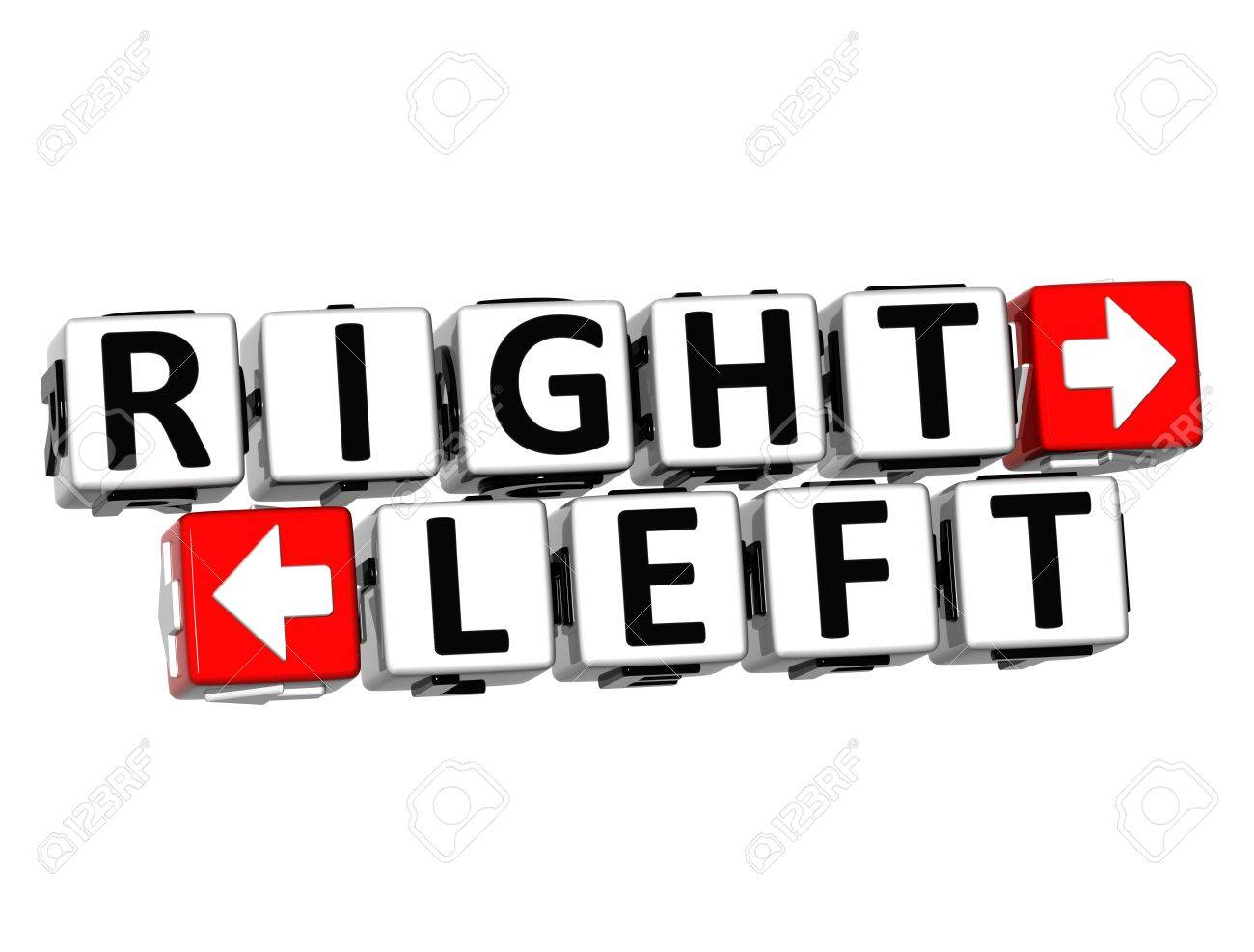 3D Right Left Button Click Here Block Text over white background Stock Photo - 18302188