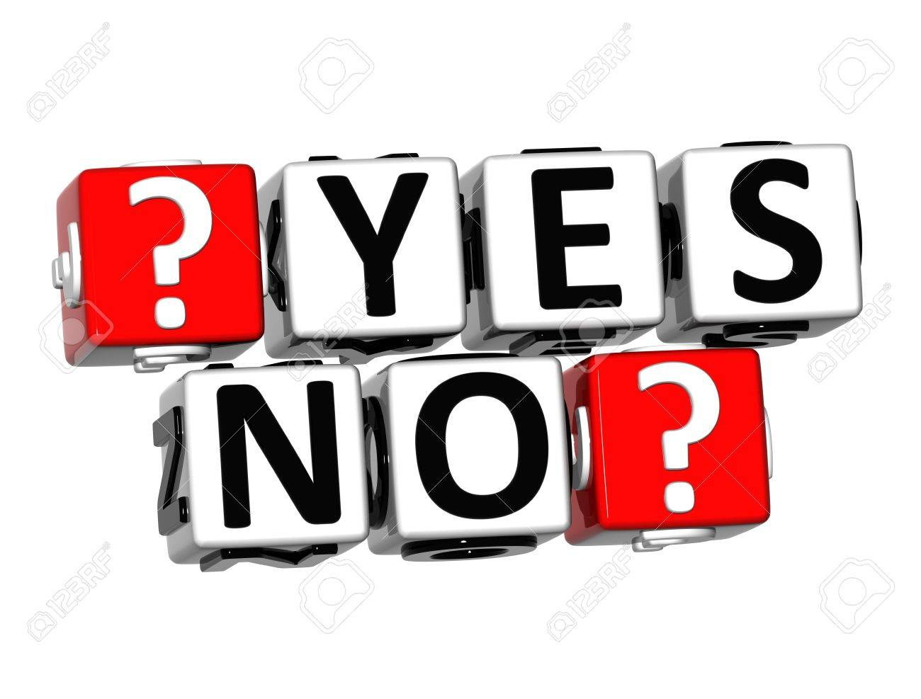 3D Yes No Button Click Here Block Text over white background Stock Photo - 18302203