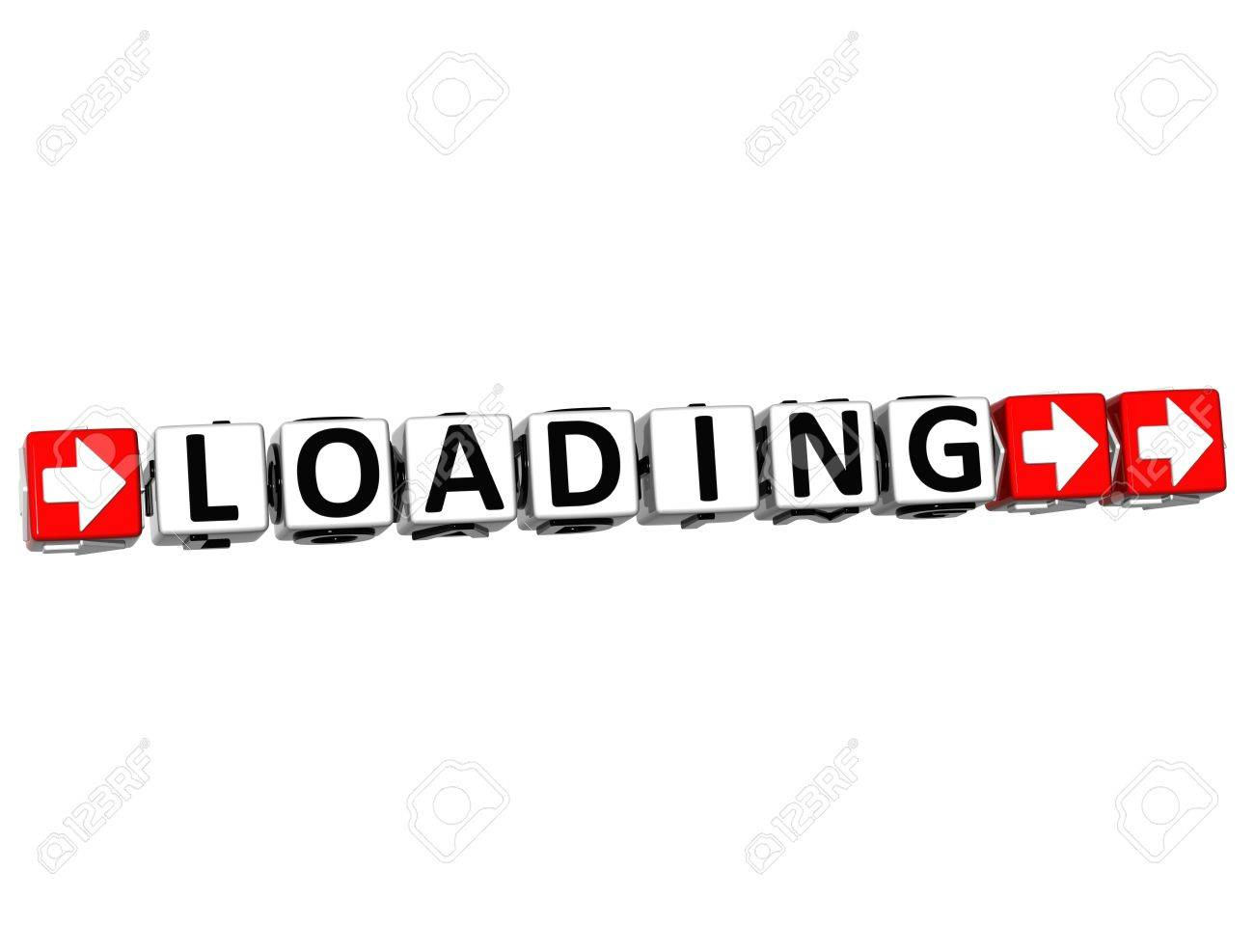 3d loading button click here block text over white background stock