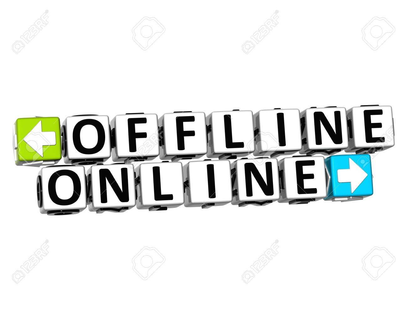 3D Offline Online Button Click Here Block Text over white background Stock Photo - 18370695