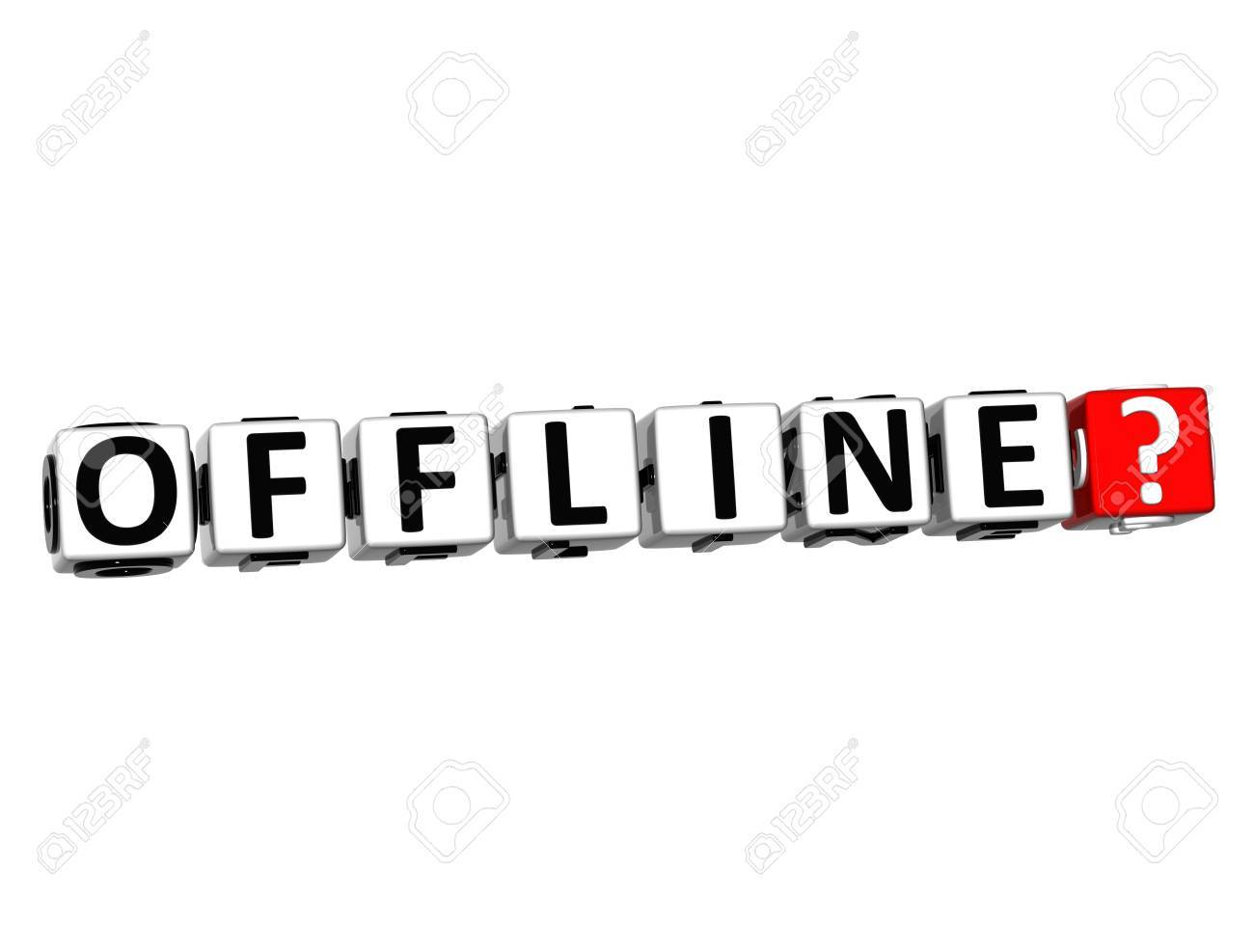 3D Offline Button Click Here Block Text over white background Stock Photo - 18370492