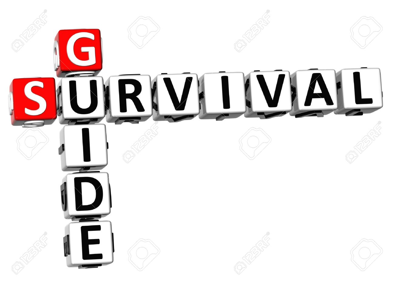 3D Survival Guide Crossword On White Background Stock Photo