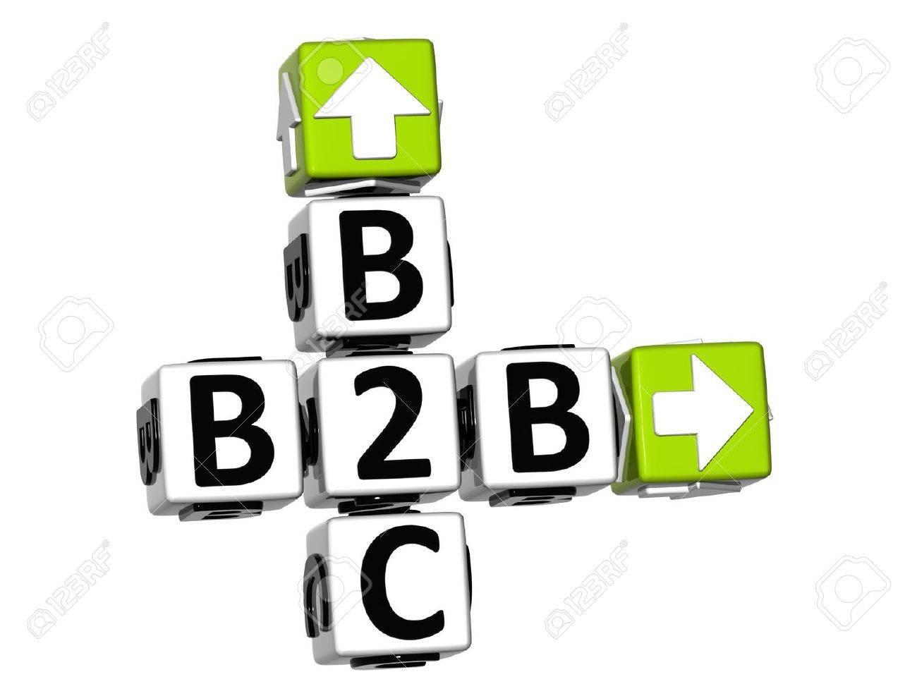 3D B2B B2C Crossword on white background - 19379339