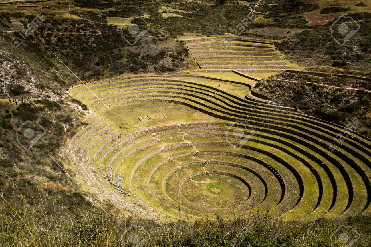 Peru, Moray, Ancient Inca Circular Terraces. Probable There Is ...