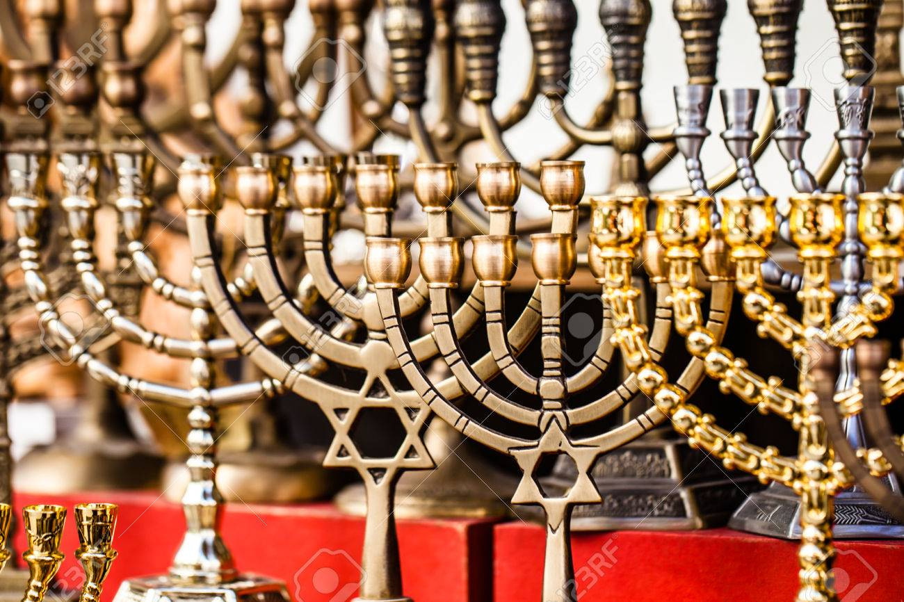 menorah for sale in shop in the jerusalem city market