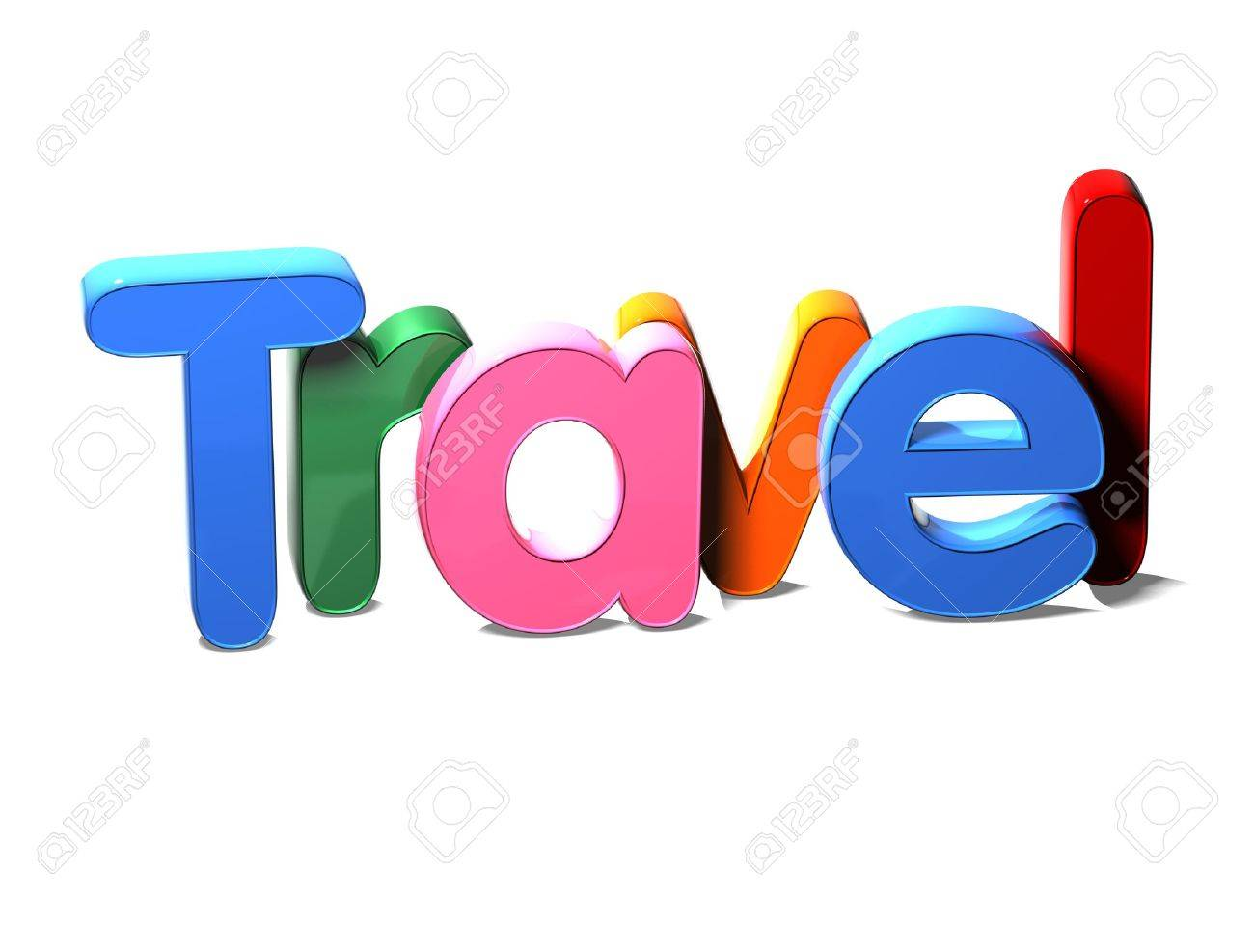 3d colorful word travel on white background stock photo picture and