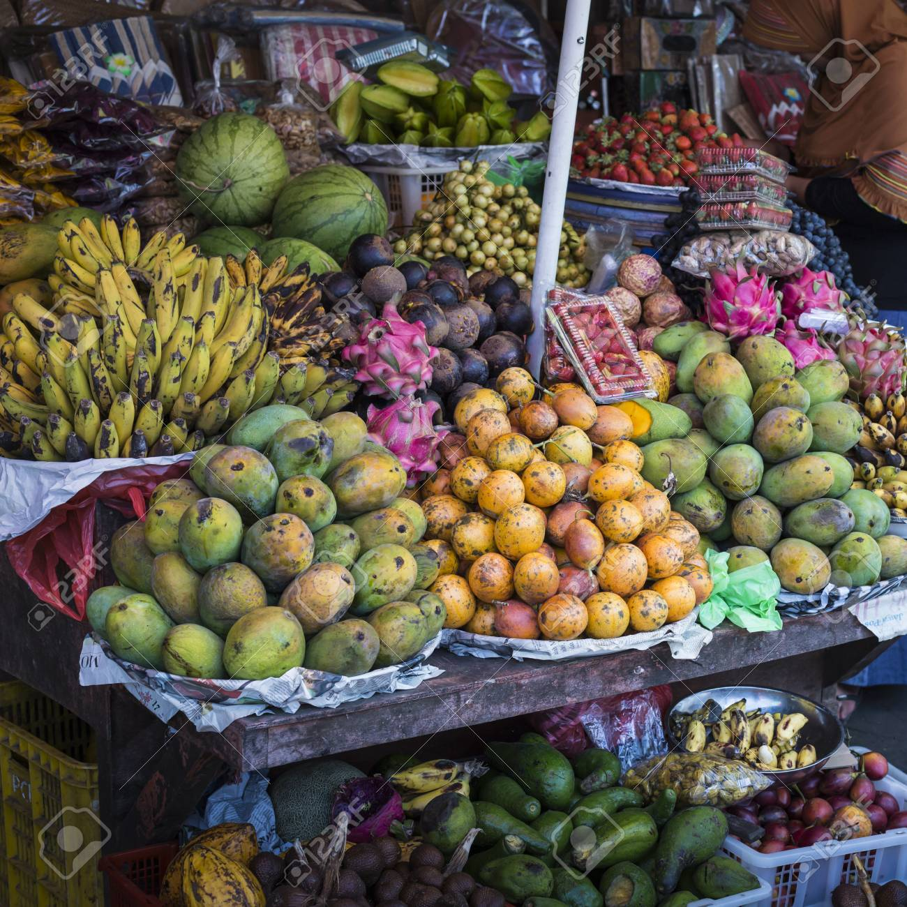 Open Air Fruit Market In The Village In Bali Indonesia Stock Photo