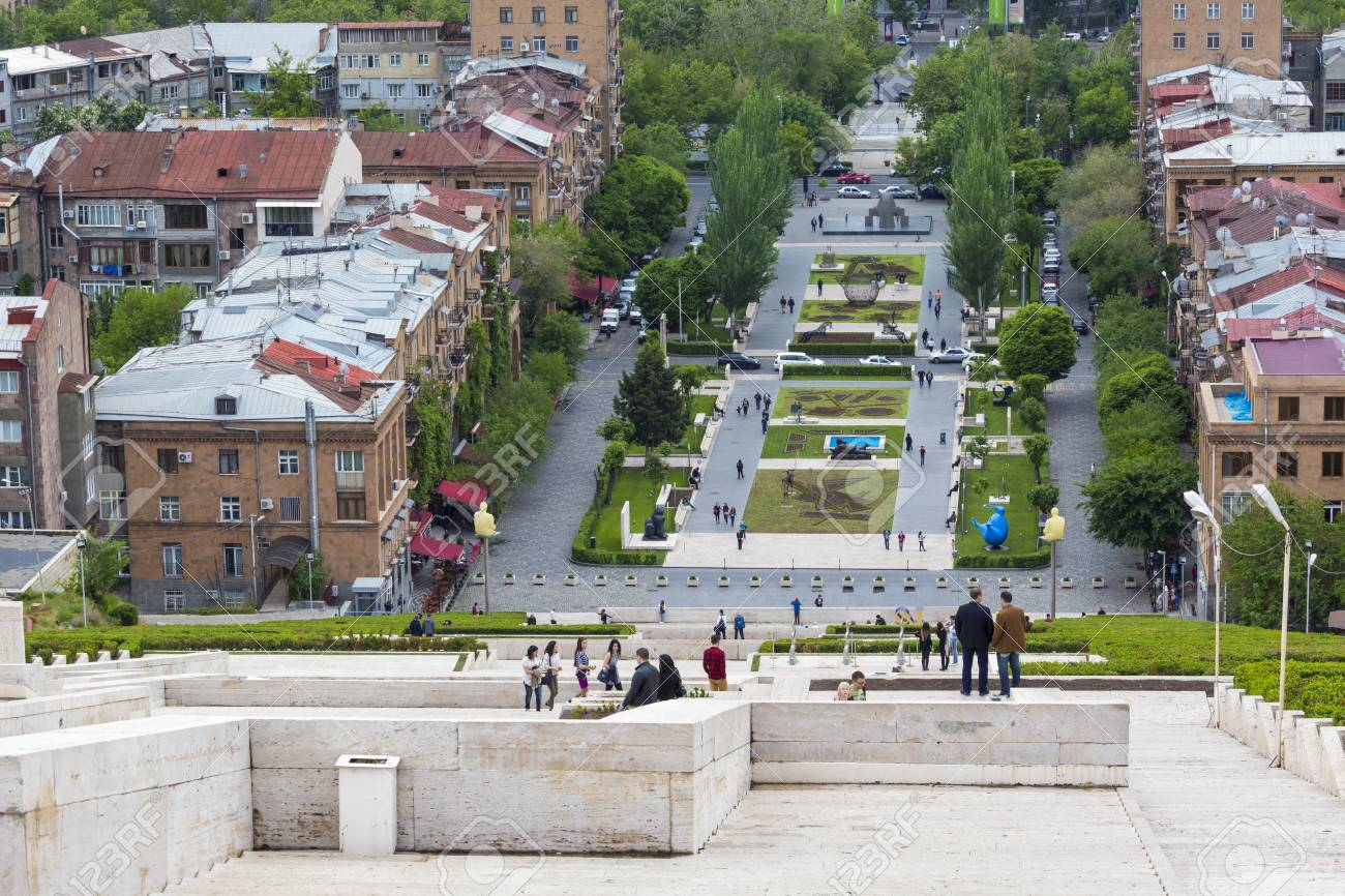 Stock Photo   YEREVAN, ARMENIA   MAY 02, 2016: View From Cascade Which Is  Giant Stairway And One Of Main Landmarks In City. The Exterior Of Cascade,  ...