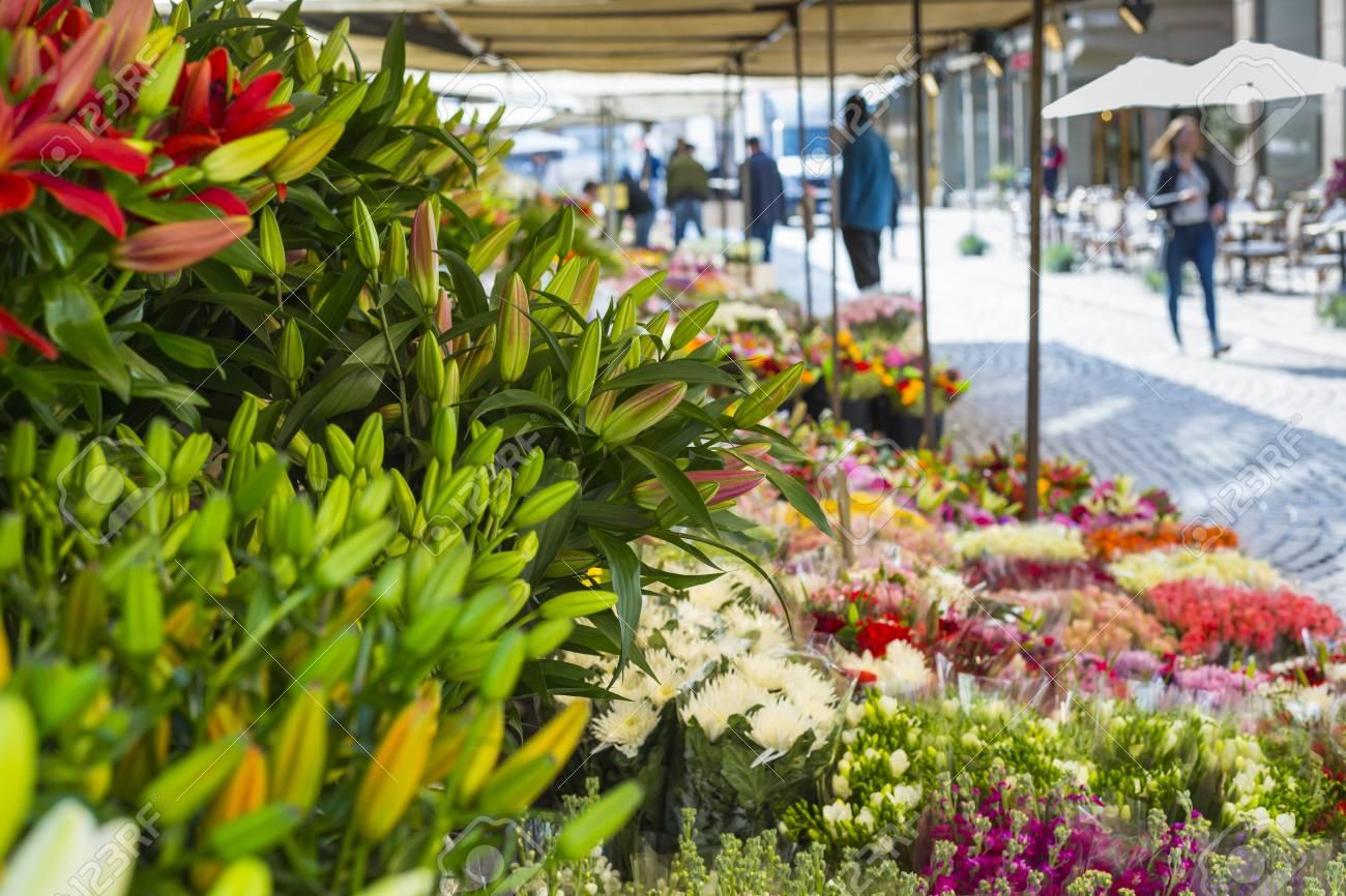 Markttag Mit Vielen Frühlingsblumen Zum Verkauf. Stiefmütterchen In ...