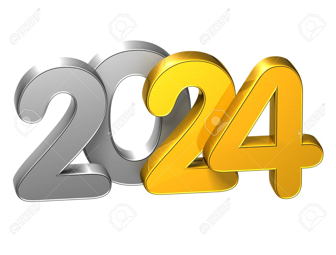 3D Gold Number New Year 2024 on white background