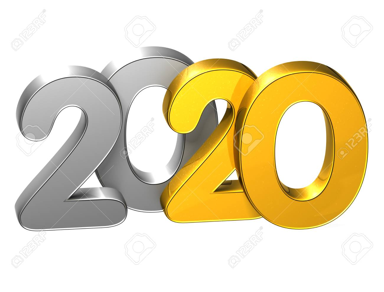 3d gold number new year 2020 on white background stock photo 75683719
