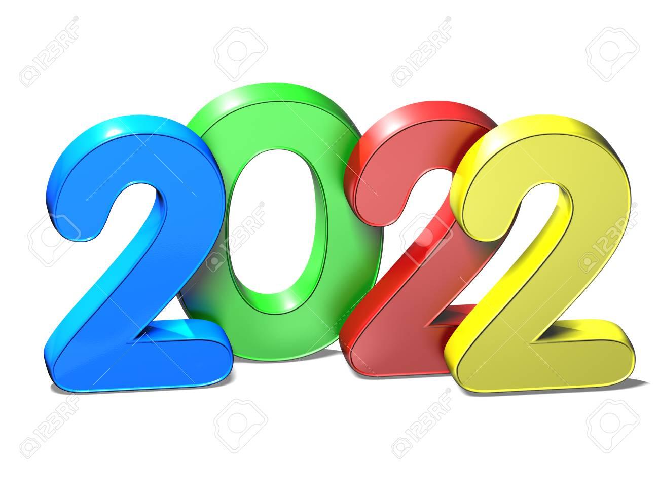 3D Año Nuevo 2022 En El Fondo Blanco Fotos, Retratos, Imágenes Y Fotografía  De Archivo Libres De Derecho. Image 75727162.