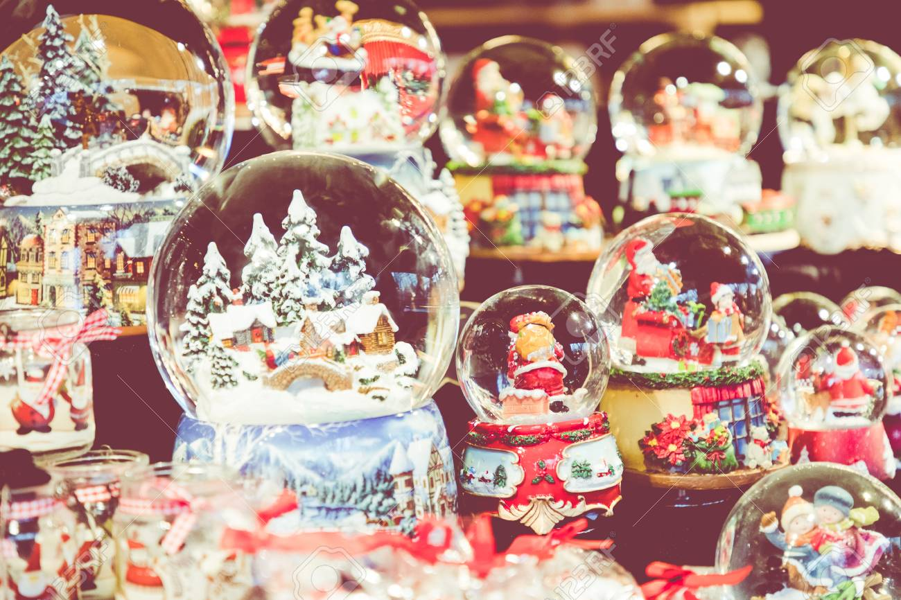 Christmas Snowglobes.Various Christmas Snow Globes At A Christmas Market In Berlin