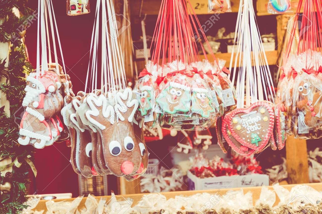 Gingerbread Hearts At German Christmas Market Berlin Munich
