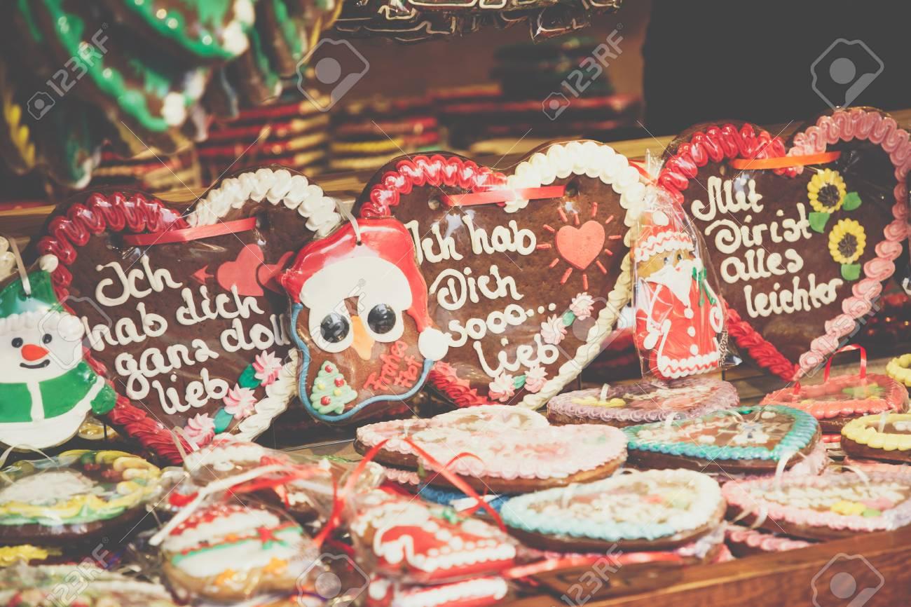 Gingerbread Hearts At German Christmas Market Berlin Traditional