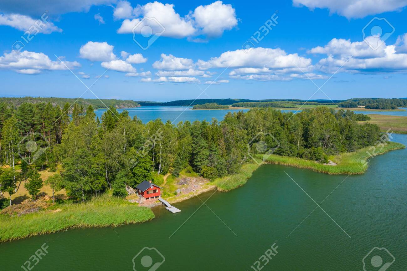 Aerial view of Aland Islands at summer time  Finland  The Archipelago